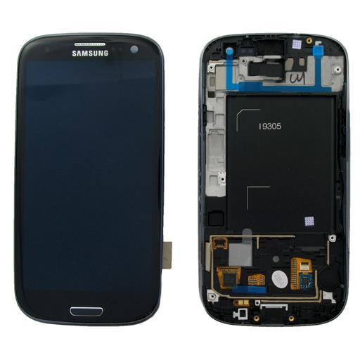 Samsung GT-I9305 Galaxy S3 LTE 4G Display completo (touch+LCD) e home con cornice anteriore di colore nero