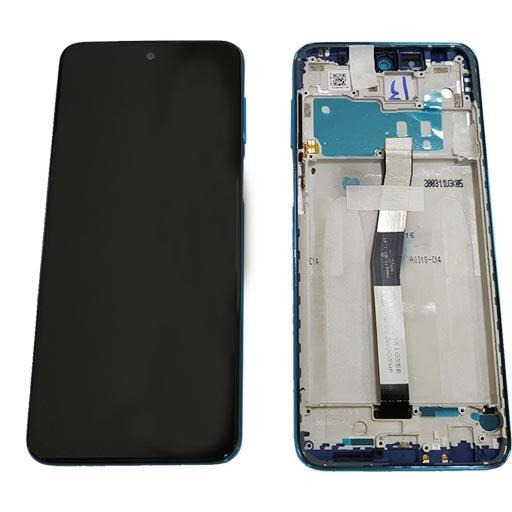 Redmi Note 9 Pro Display completo (touch+LCD) blu con frame SERVICE PACK