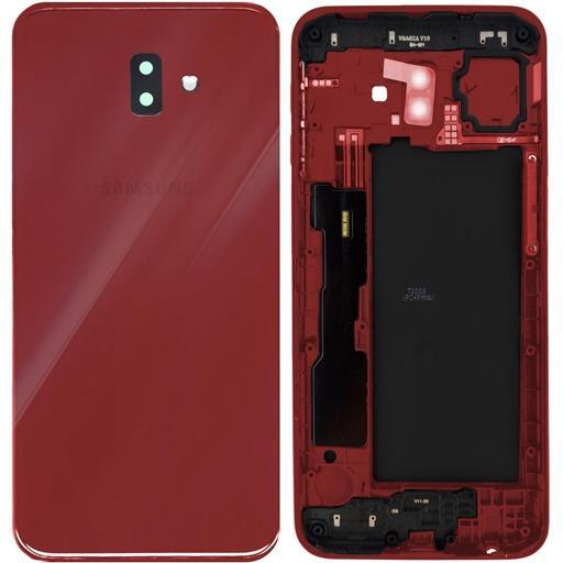 Samsung SM-J610 Galaxy J6 Plus Copribatteria con vetrino camera e tasti esterni rosso