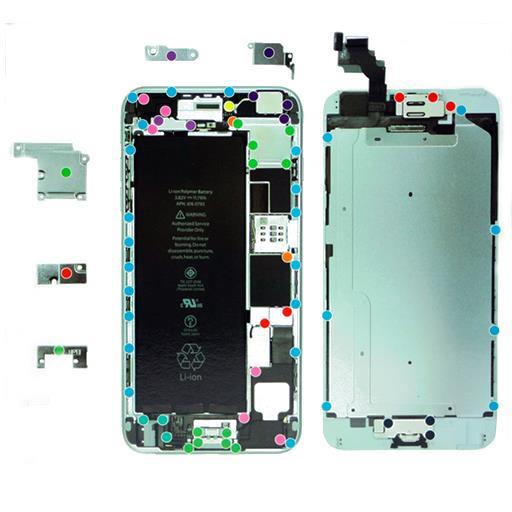 Apple iPhone 6 Plus Mappa di posizionamento viti Magnetica