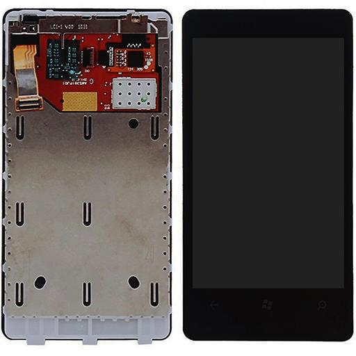 Nokia Lumia 800 Display completo (touch+LCD) nero con frame