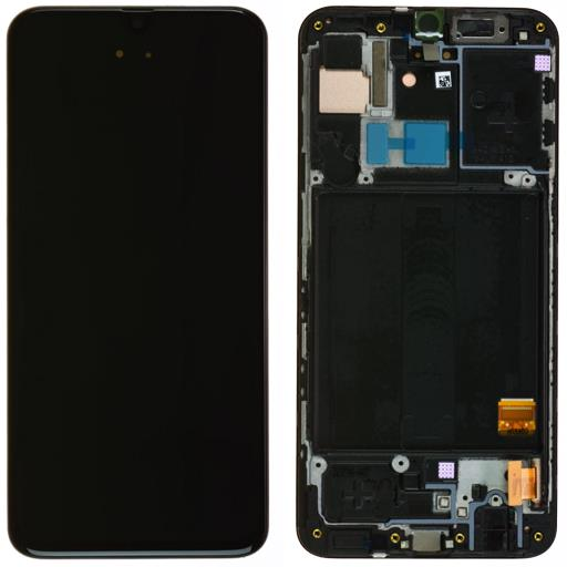 Samsung SM-A405 Galaxy A40 Display completo (touch+LCD) nero con frame - SERVICE PACK